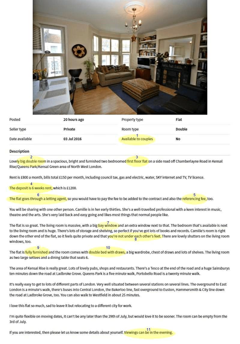 alquilar piso en inglés