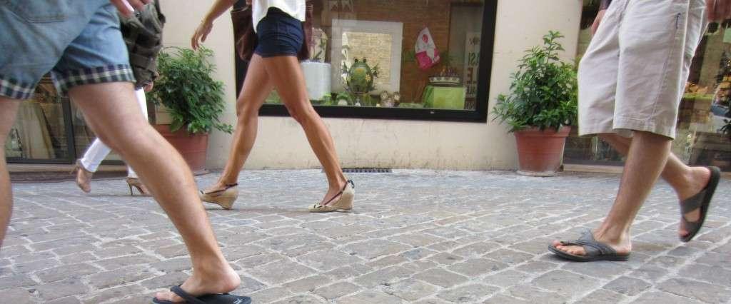 people walking in macerata, italy