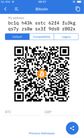 Bitcoin wallet address with QR code.
