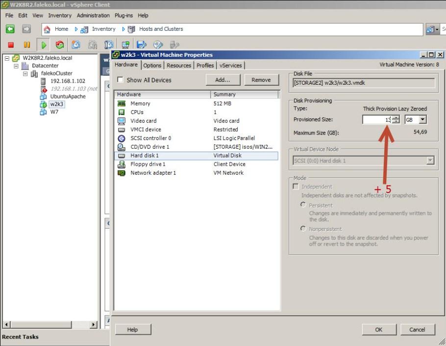 edit settings virtual machine