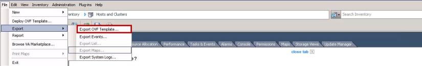 VMware: Export ovf template