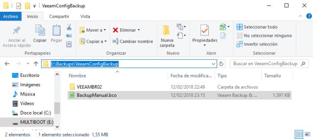 veeam backup configuration tool target
