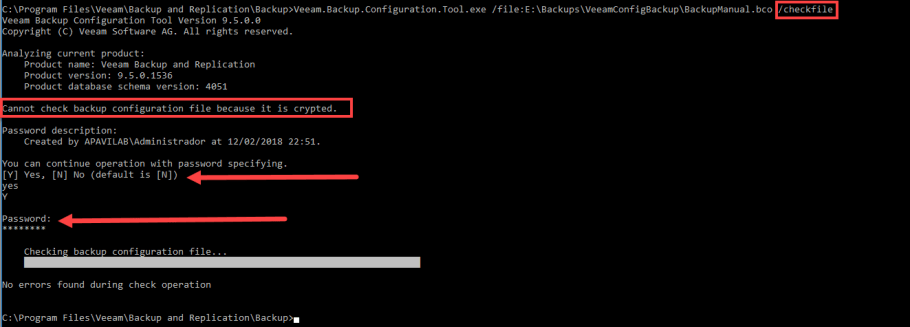 veeam backup configuration tool checkfile
