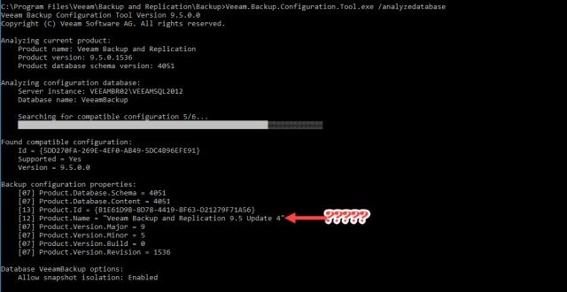 veeam backup configuration tool analyze database