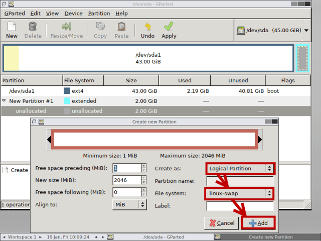 create logical partition gparted