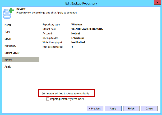 Import existing backups automatically