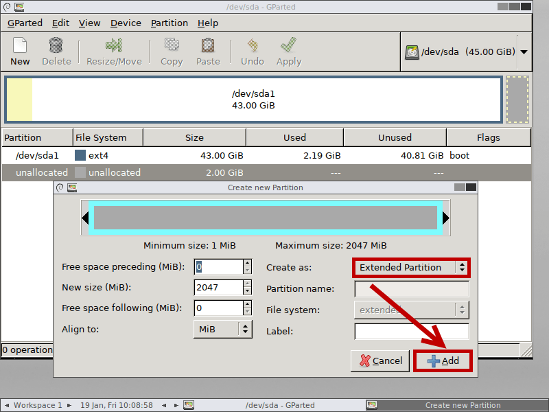 create extended partition gparted