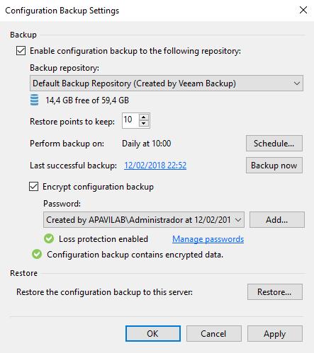 veeam onfiguration backup