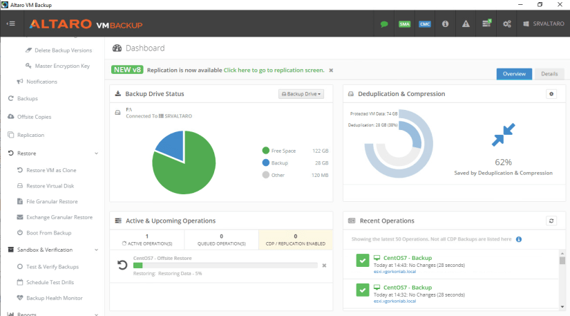 Restaurar maquina virtual con Altaro VM Backup y wasabi offsite backup dashboard