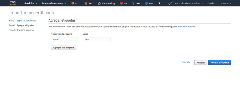 Configurar Client VPN Endpoint en AWS Amazon tags