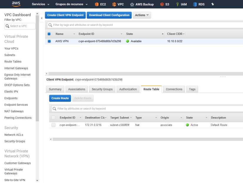 Configurar Client VPN Endpoint en AWS Amazon route table