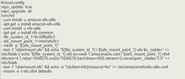 Montar automáticamente Sistema de archivos EFS user data