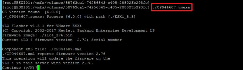 Actualizar HPE ILO desde VMware ESXi ejecutar fichero