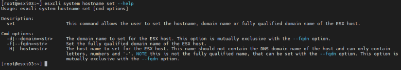 Cambiar hostname de host ESXi con esxcli set
