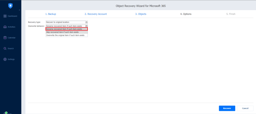 Sharepoint online backup recovery type