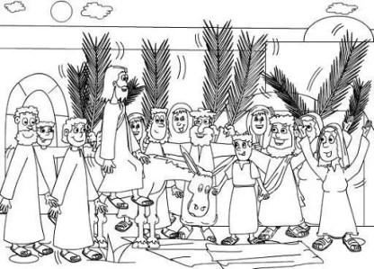 Semana Santa para colorear - Entrada en burro con palmas