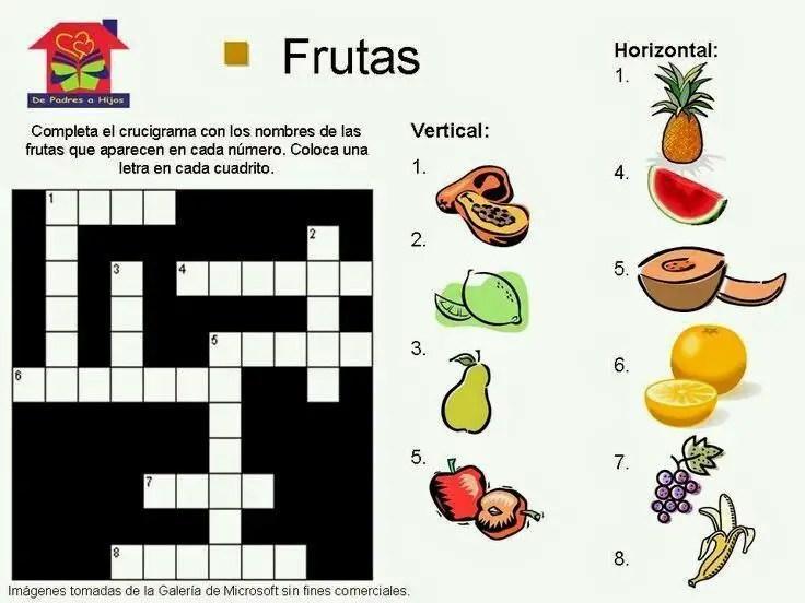 Crucigramas infantiles animales y frutas aprendiendo con julia - Colmos infantiles ...