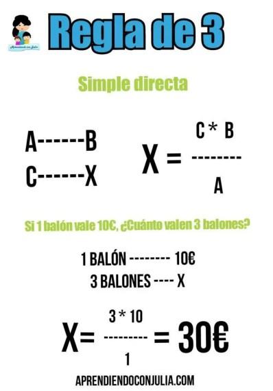 regla de 3 simple directa