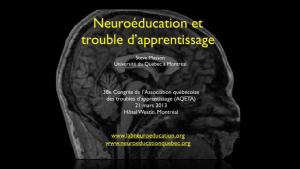 vidéo neuroéducation et troubles d'apprentissage