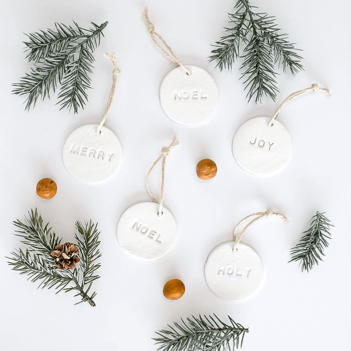 Embossed air dry clay Christmas ornaments.