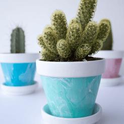 Green Pot - Mini Marbled Painted Pots DIY
