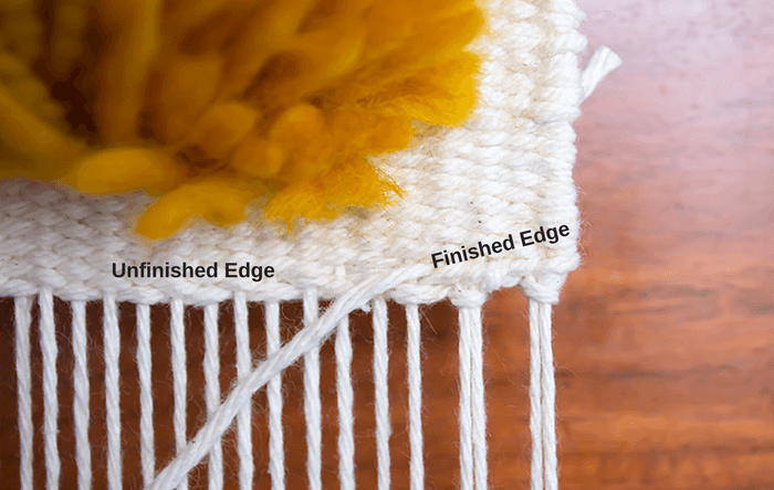 two bundles of woven hemstitch vs unfinished woven edge