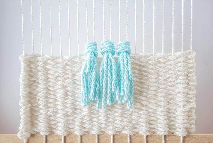 First row of rya knots - 3 mini weavings.