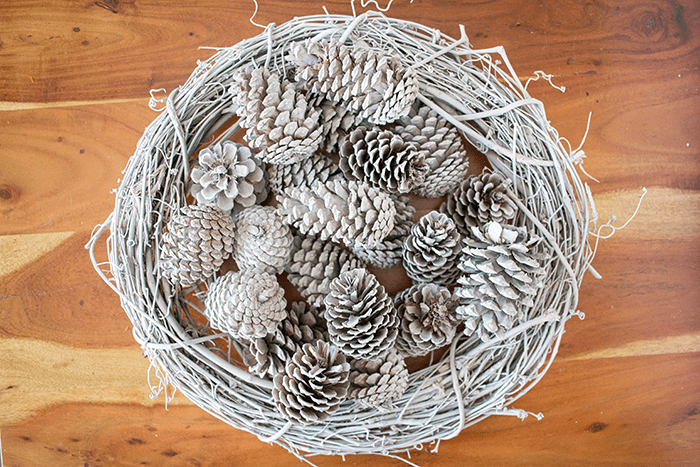 Pretty Pine Cone Wreath - spray painted