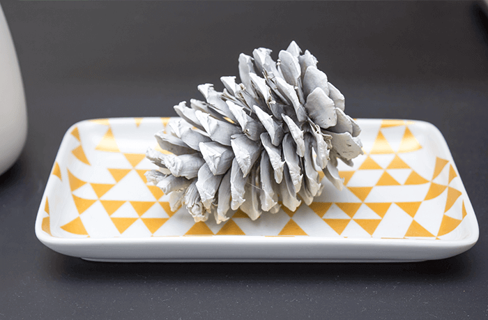 Simple white pinecone decorating ideas.