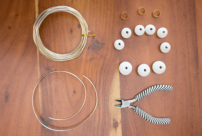 DIY Wood Bead Christmas Ornaments - cut wire.