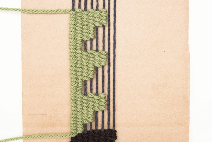 Add more warp threads when creating square designs for this handmade woven bookmark.