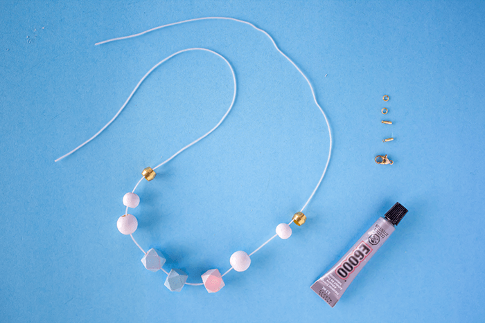 String beads on necklace // DIY a Painted Bead Necklace Using Nail Polish