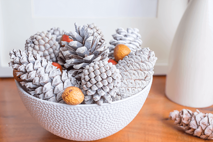 Fresh farmhouse decorating for fall | pinecones | nuts | bowl | DIY | craft