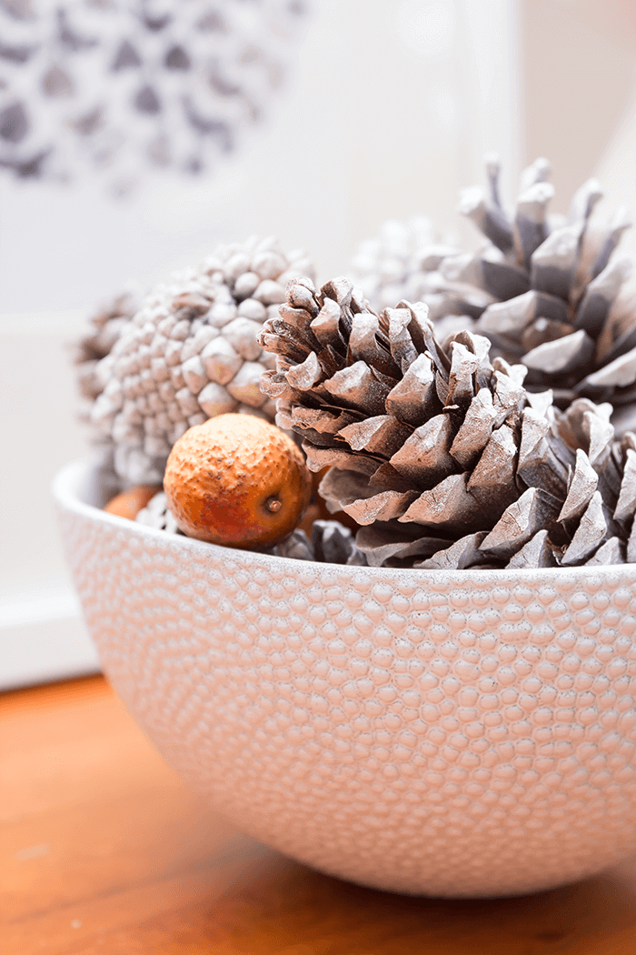 Pinecones, nuts, a bowl and a can of spray paint is all you need to recreate this easy decor idea for your fall decorating this season.