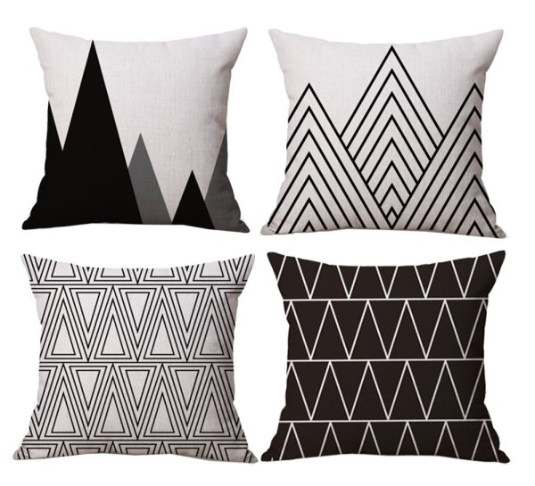 Black and White Geometric Pillow Cover Set of 4 // 10 Geometric Print Pillow Covers For Under $10.