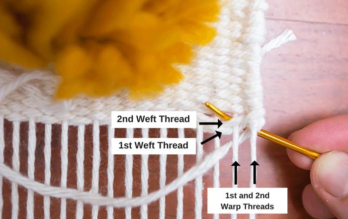 weaving hemstitch to finish an edge