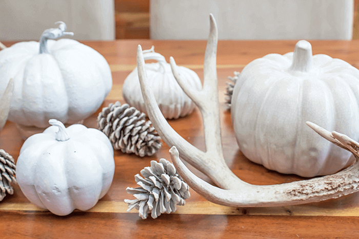 easy fall tablescape decorating | farmhouse dining room | pinecones | pumpkins