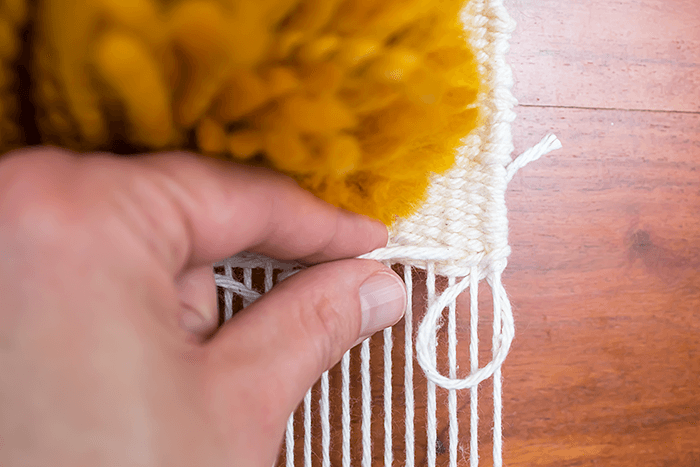 finish a weaving using the hemstitch