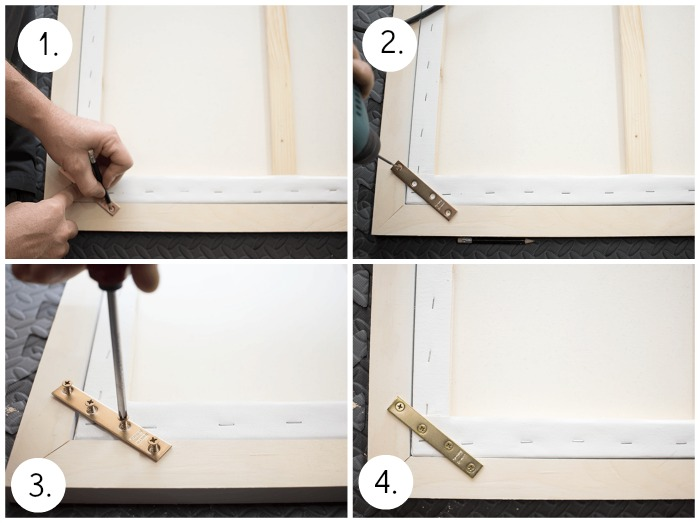 How To Frame a Canvas - Attach brace.