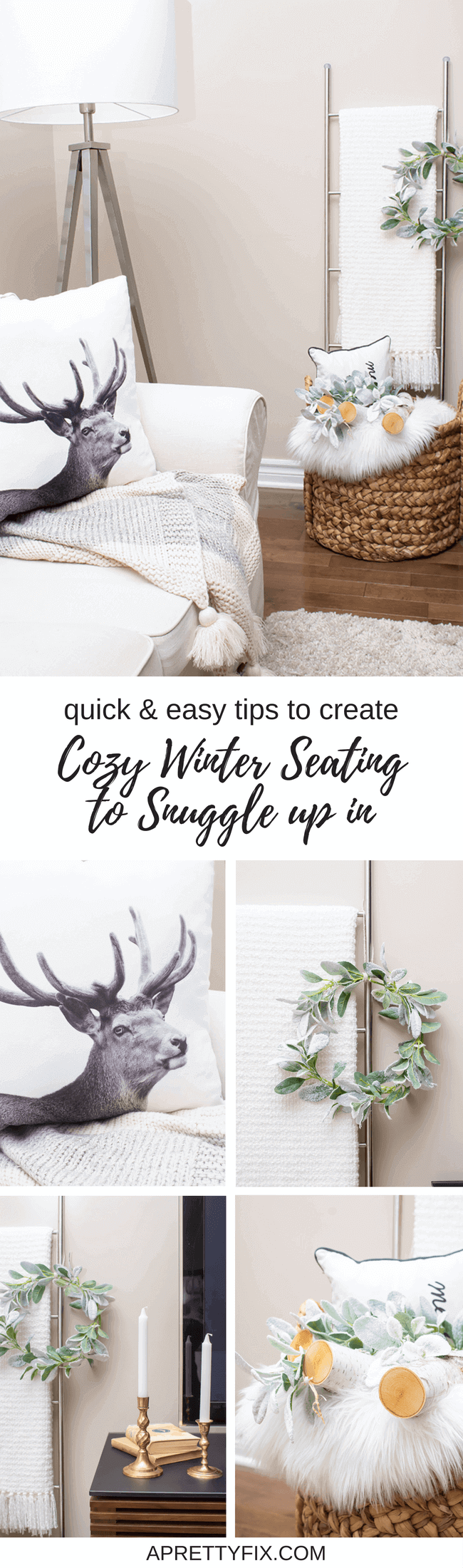 Using basic accessories and a few DIY elements, creating a cozy winter seating nook to snuggle up in is easy. Get inspiration and a few quick and easy tips on creating your own cozy spot this season.