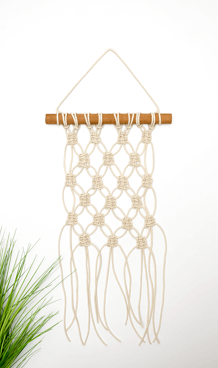 mini macrame wall hanging DIY