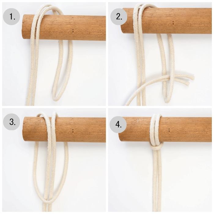 Mini macrame wall hanging tutorial - lark's head knot.