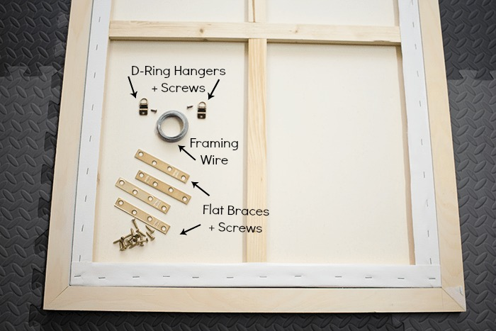 How To Frame a Canvas - supplies to attach the frame.