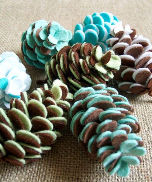 felt pinecones