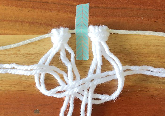 pull left and right strands - square knot
