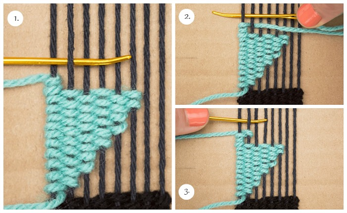 Using two warp strands, weave two more rows // DIY bookmarks.