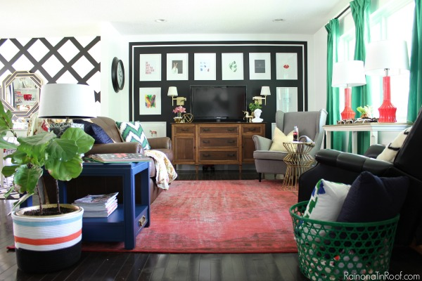 baskets add warmth to a living room