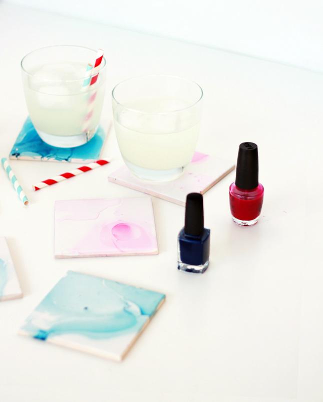 DIY watercolor nail polish coasters