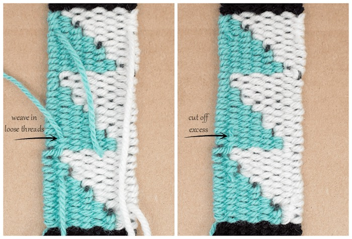 Weave in loose threads and cut off the excess (woven bookmarks tutorial).