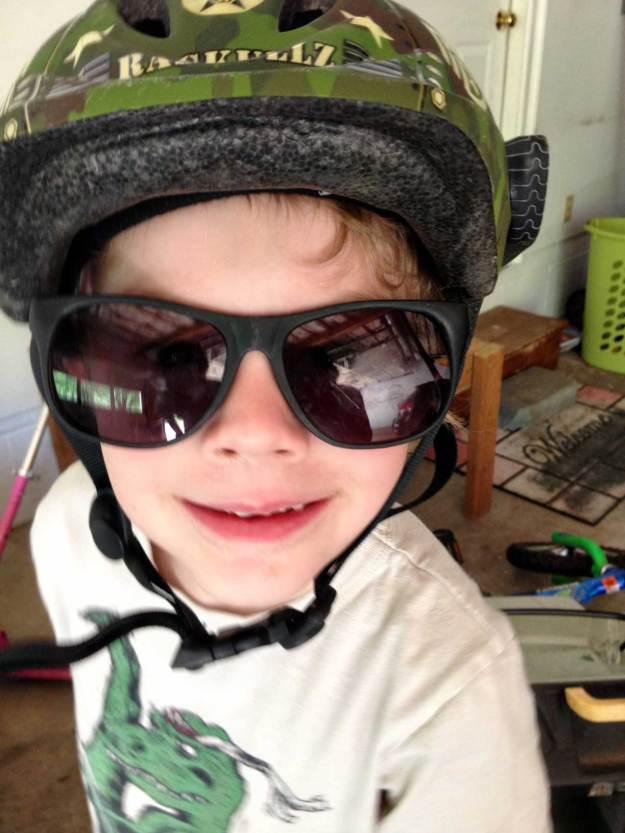 Sunglasses and bike helmets